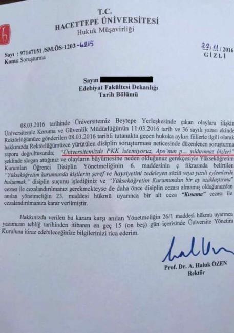 Hacettepe Üniversitesi Rektörlüğü'nden, bölücü örgütü protesto eden öğrenciye ceza