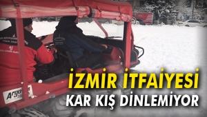 İzmir İtfaiyesi kar kış dinlemiyor