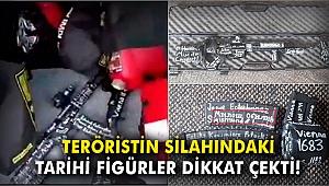 Teröristin silahındaki tarihi figürler dikkati çekti