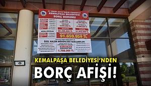 Kemalpaşa Belediyesi, borç afişini belediye binasına astı