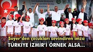 Başkan Soyer'den süt üreticileri ile çocukları sevindiren imza