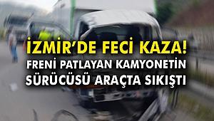 Freni patlayan kamyonetin sürücüsü araçta sıkıştı