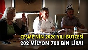 Çeşme'nin 2020 yılı bütçesi 202 milyon 700 bin lira!