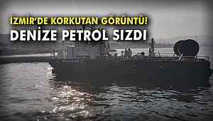 İzmir'de korkutan görüntü! Denize petrol türevi atıklar sızdı