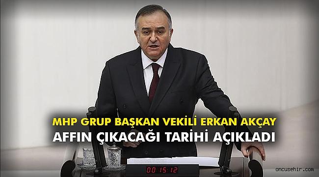 MHP Grup Başkan Vekili Erkan Akçay affın çıkacağı tarihi açıkladı