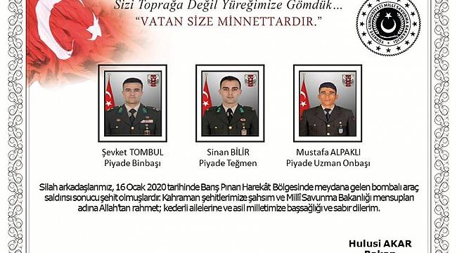 Türkiye güne 3 şehit haberiyle uyandı