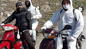 Bergama'da koronavirüs için motorize dezenfekte ekibi kuruldu