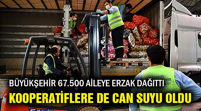 İzmir Büyükşehir 67 bin 500 aileye erzak dağıttı kooperatiflere de can suyu oldu!