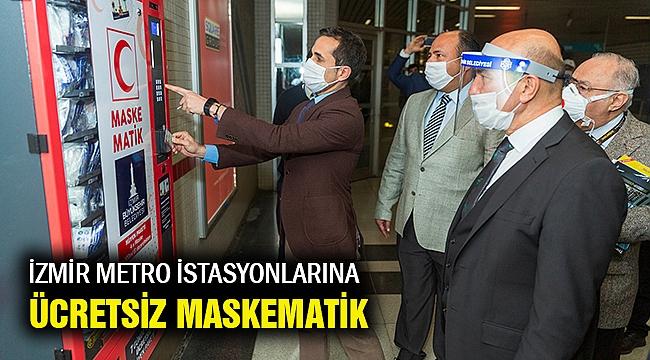 İzmir'in metro istasyonlarında ücretsiz maskematik dönemi