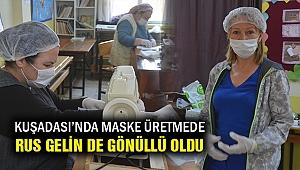Rus gelin de maske üretimi için gönüllü oldu