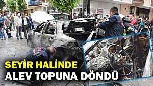 Seyir halindeki otomobil alev topuna döndü... Diğer araçlara da zarar verdi...