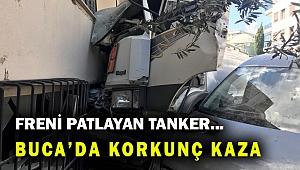 Freni boşalan tanker apartmana çarparak durabildi...