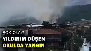 İzmir'de yıldırım düşen okulun çatısında yangın çıktı