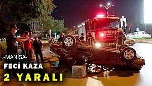 Trafik ışıklarını devirdi, taksiye çarptı, takla attı
