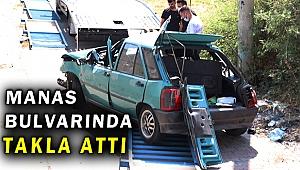 Bayraklı'da kaza; otomobil takla attı
