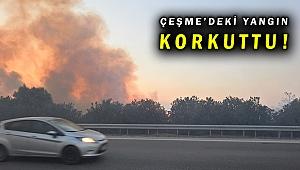 Bugün İzmir-Çeşme otoyolundan geçenler bu görüntüyle irkildi