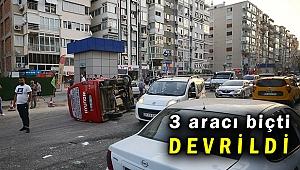 İnönü Caddesinde panelvan park halindeki araçlara çarptı: 3 yaralı