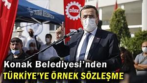 Konak Belediyesi'nde Türkiye'ye örnek sözleşme imzalandı