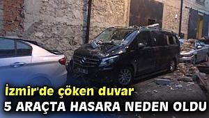 İzmir'de çöken duvar 5 araçta hasara neden oldu