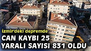 İzmir'deki depremde can kaybı 25 yaralı sayısı 831 oldu