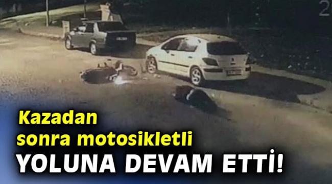 Kazadan sonra motosikletli yoluna devam etti!