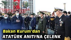 Bakan Kurum Atatürk Anıtı'na çelenk sundu