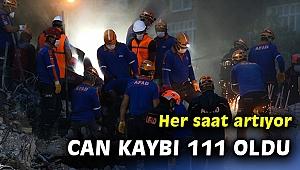 İzmir'deki depremde can kaybı 111'e yükseldi