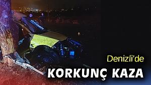 Denizli'de taksi refüjdeki ağaca çarptı: 2 ölü, 1 yaralı