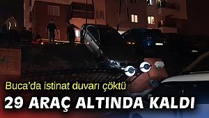 İzmir'de sağanak nedeniyle çöken istinat duvarı 29 araca zarar verdi
