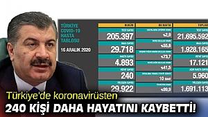 Türkiye'de koronavirüsten 240 kişi daha hayatını kaybetti!