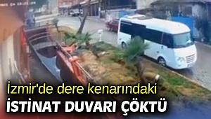 İzmir'de dere kenarındaki istinat duvarı çöktü