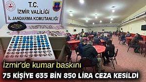 İzmir'de kumar baskını! 75 kişiye 635 bin 850 lira ceza kesildi