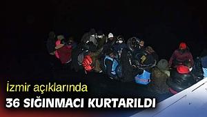 İzmir açıklarında 36 sığınmacı kurtarıldı