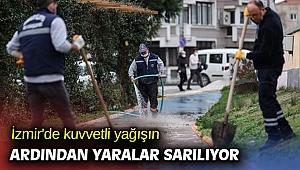 İzmir'de kuvvetli yağışın ardından yaralar sarılıyor