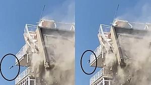 Bina yıkılırken düşen kedi ağır yaralandı