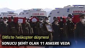 Bitlis'te helikopter düşmesi sonucu şehit olan 11 askere veda