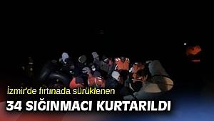 İzmir'de fırtınada sürüklenen 34 sığınmacı kurtarıldı