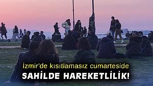 İzmir'de kısıtlamasız cumarteside sahil kesiminde hareketlilik gözlendi