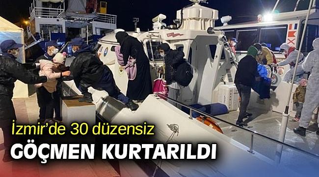 İzmir'de 30 göçmen kurtarıldı