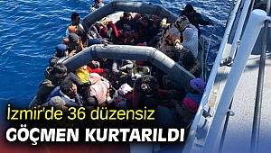 İzmir'de 36 düzensiz göçmen kurtarıldı
