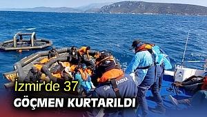 İzmir'de 37 göçmen kurtarıldı