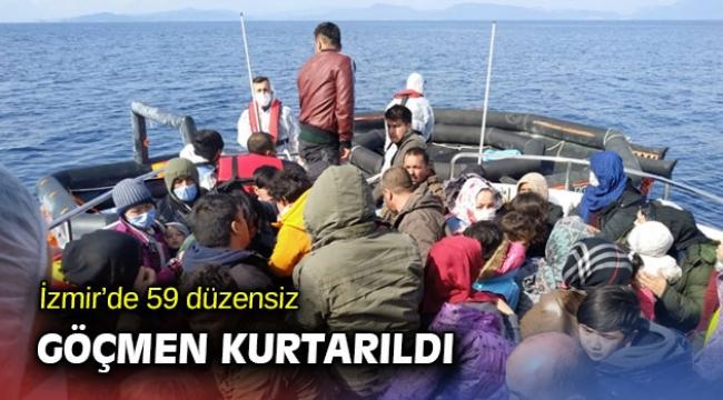 İzmir'de 59 göçmen kurtarıldı