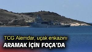 TCG Alemdar, uçak enkazını aramak için Foça'da