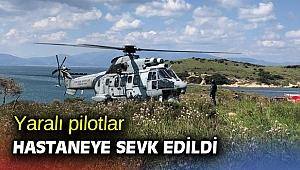 Yaralı pilotlar hastaneye sevk edildi
