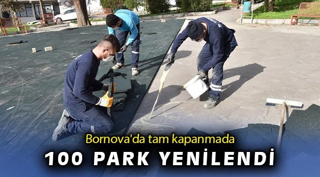 Bornova'da tam kapanmada parklar yenilendi