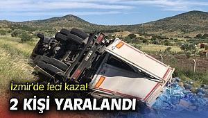 İzmir'de feci kaza! 2 kişi yaralandı