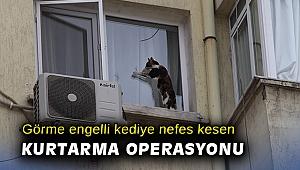 İzmir'de görme engelli kediye nefes kesen kurtarma operasyonu