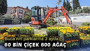 Buca'nın parklarına 3 ayda 60 bin çiçek 600 ağaç