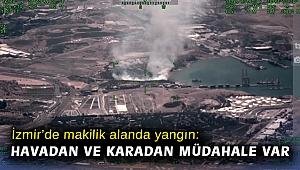 İzmir'de makilik alanda yangın: Havadan ve karadan müdahale var
