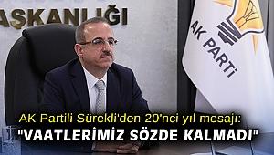 AK Partili Sürekli'den 20'nci yıl mesajı: